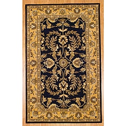 Indo Hand-tufted Kashan Black Wool Rug (5' x 8')