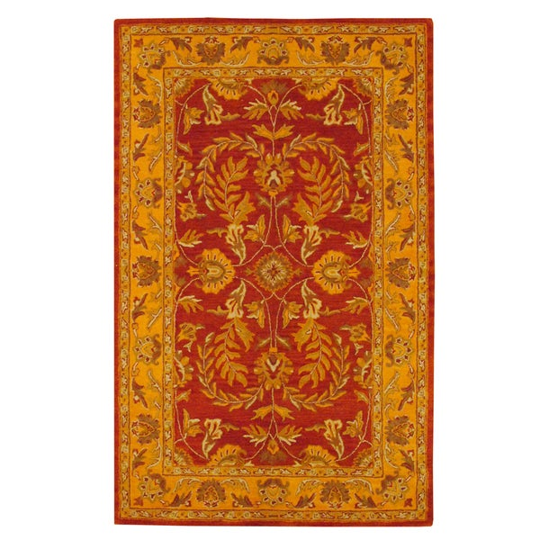 Herat Oriental Indo Hand-tufted Kashan Rust Wool Rug (5' x 8')