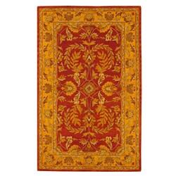 Indo Hand-tufted Kashan Rust Wool Rug (5' x 8')
