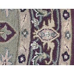 Indo Hand-tufted Kashan Burgundy Wool Rug (6' Round)