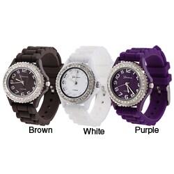 Geneva Platinum Women's Cubic Zirconia Accented Silicone Watch