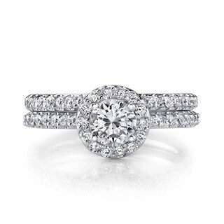 18k White Gold 1ct TDW Diamond Halo Bridal Ring Set (H-I, SI1-SI3)