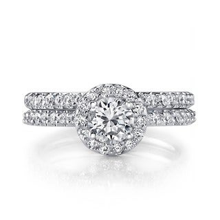 18k White Gold 1ct TDW Diamond Halo Bridal Ring Set (H-I, SI1-SI3)