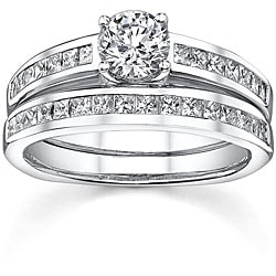 18k White Gold 1 1/3ct TDW Diamond Bridal Ring Set (H-I, SI1-SI3)