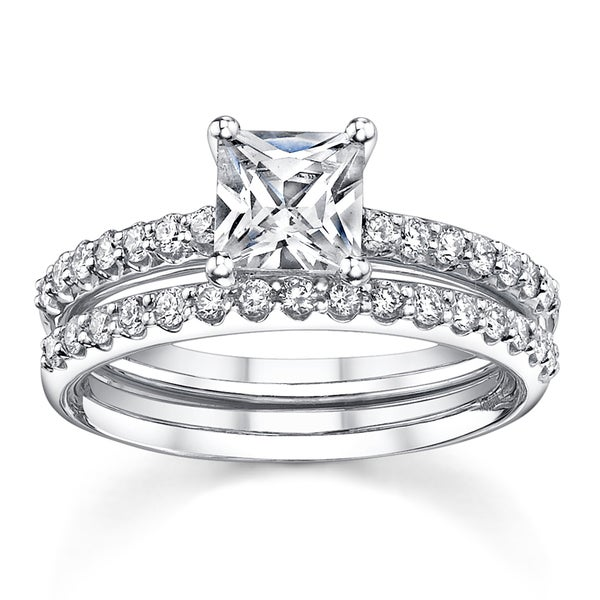 18k White Gold 1 3/5ct TDW Diamond Bridal Ring Set (H-I, SI1-SI3)