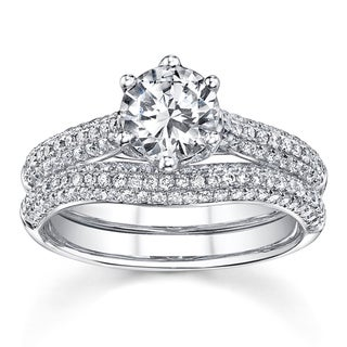 18k White Gold 1 5/8ct TDW Round Solitaire Micro Pave Diamond Bridal Set (H-I, SI1)
