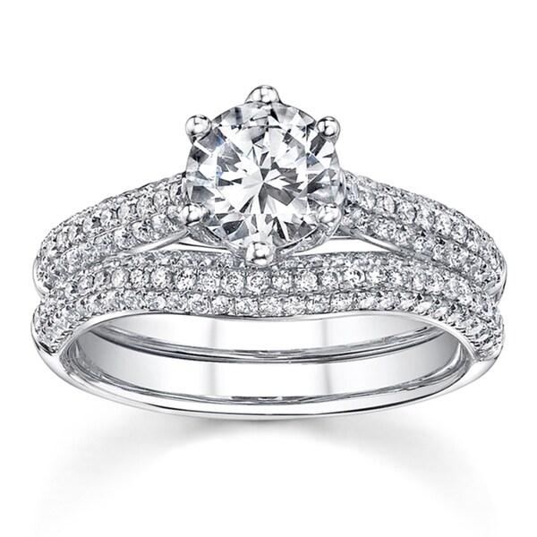 18k White Gold 1 5/8ct TDW Round Solitaire Micro Pave Diamond Bridal Set (H-I, SI1)