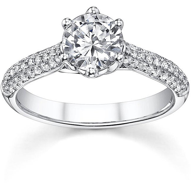 18k White Gold 1 1/3ct TDW Diamond Solitaire Micro Pave Engagement Ring (H-I, SI1)