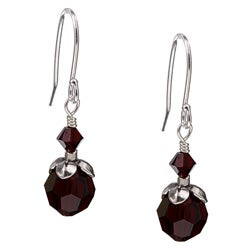 Charming Life Silver January Birthstone Dark Red Crystal Earrings