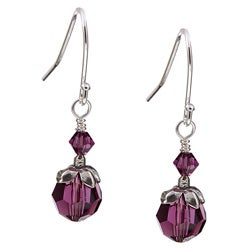 Charming Life Silver February Birthstone Purple Crystal Earrings