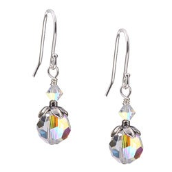 Charming Life Sterling Silver April Birthstone Clear Crystal Earrings