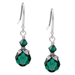 Charming Life Sterling Silver May Birthstone Green Crystal Earrings