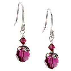 Charming Life Sterling Silver July Birthstone Red Crystal Earrings
