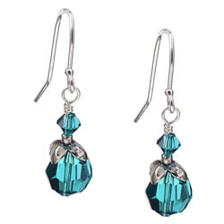 Charming Life Silver December Birthstone Teal Crystal Earrings
