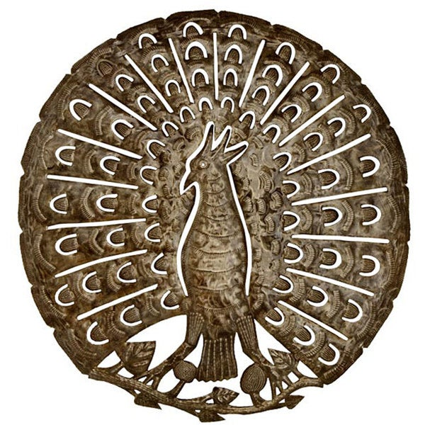 Metal 'The Peacock' Oil Drum Art (Haiti)