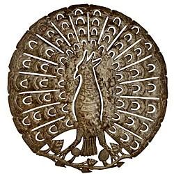 Metal 'The Peacock' Oil Drum Art (Haiti)