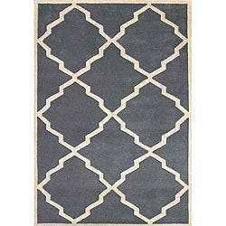 Alliyah Handmade Bluish-Grey New Zealand Blend Wool Rug (5' x 8')