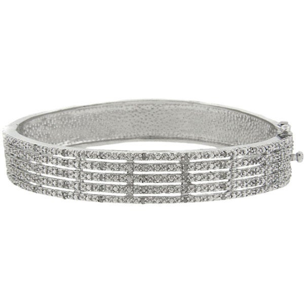 Sterling Silver 1/2ct TDW Diamond 5-row Bangle Bracelet (J-K, I3)