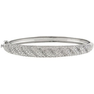 Finesque Sterling Silver 1/2ct TDW Diamond Bangle (J-K, I3)