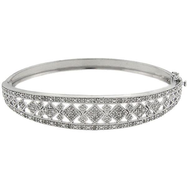 Finesque Sterling Silver 1/2ct TDW Diamond Square Design Bangle Bracelet