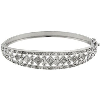 Finesque Sterling Silver 1/2ct TDW Diamond Square Design Bangle Bracelet