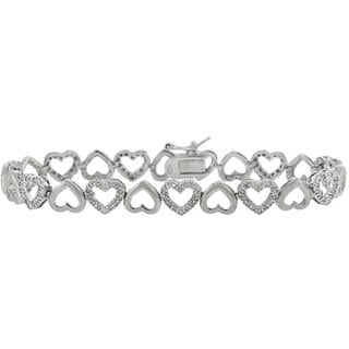 Finesque Sterling Silver 1/2ct TDW Diamond Open Heart Link Bracelet (J-K, I3)