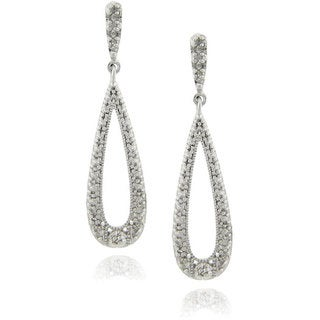 Finesque Sterling Silver 1/4ct TDW Diamond Teardrop Dangle Earrings (J-K, I3)