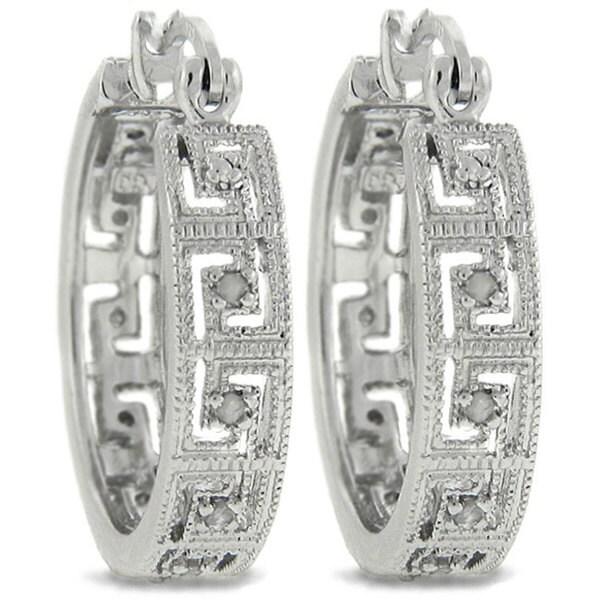 Finesque Sterling Silver 1/4ct TDW Diamond Greek Key Hoop Earrings (J-K, I3)
