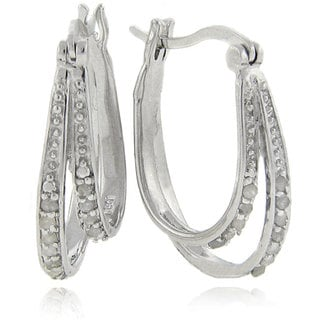 Finesque Sterling Silver 1/4ct TDW Double Row Diamond Hoop Earrings (J-K, !2-I3)