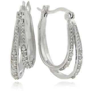 Finesque Sterling Silver 1/4ct Double Row Diamond Hoop Earrings