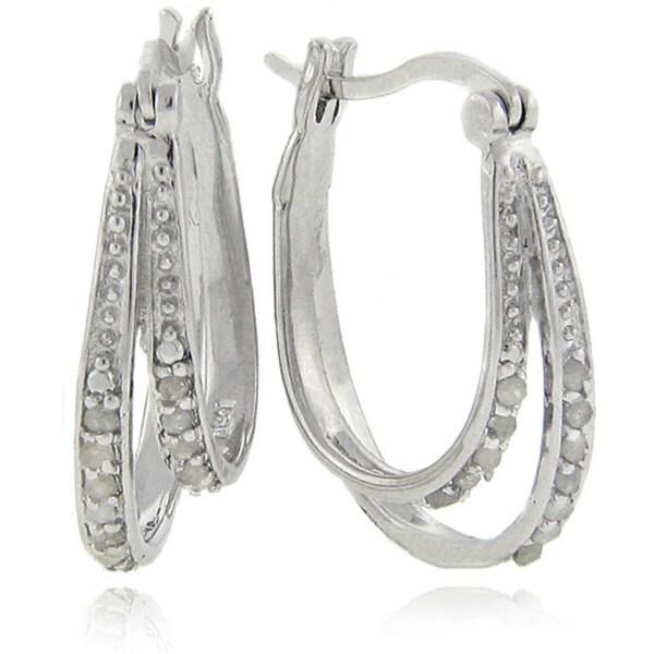 Finesque Sterling Silver 1/4ct TDW Double Row Diamond Hoop Earrings (J-K, !2-I3)