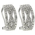 Finesque Sterling Silver 1/4ct TDW Diamond 'X' Design Earrings