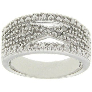 Finesque Sterling Silver 1/4ct TDW Diamond 'X' Design Ring (J-K, I3)