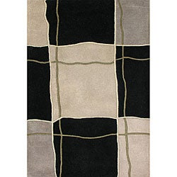 Hand-tufted Metro Flower Black/ Grey Blended Wool Rug (8' x 10')