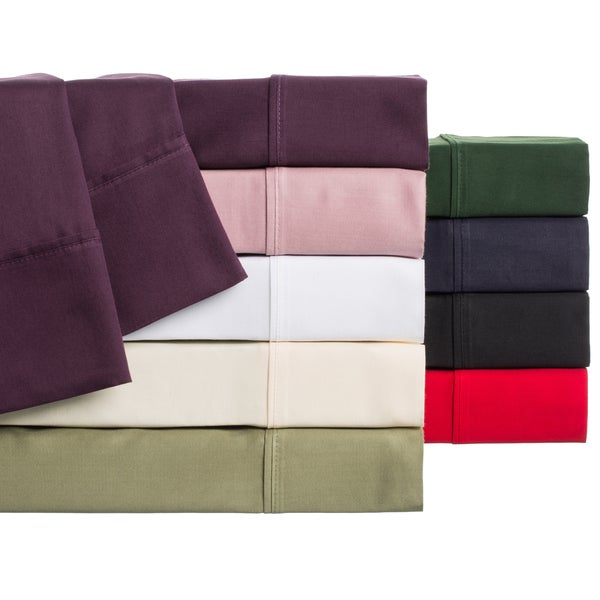 Egyptian Cotton 300-Thread Count Sateen-Weave Solid Pillowcases (Set of 2)