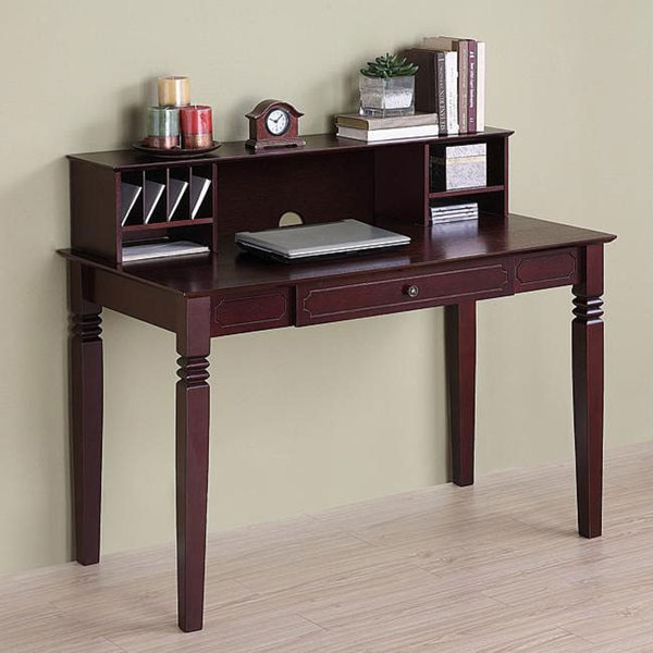 Brown Wood Computer Desk With Hutch 12712514 Overstock