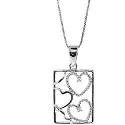 Sterling Silver Diamond Accent Cutout Heart Necklace (H-I, I3)