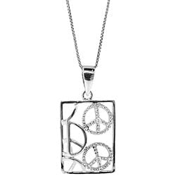 Sterling Silver Diamond Accent Cutout Peace Sign Necklace (H-I, I3)
