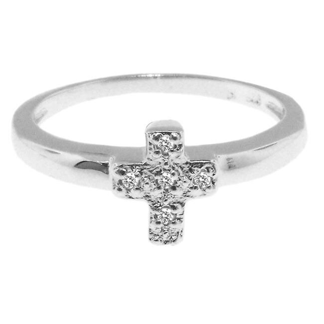 Sterling Silver Diamond Accent Cross Ring (H-I, I3)