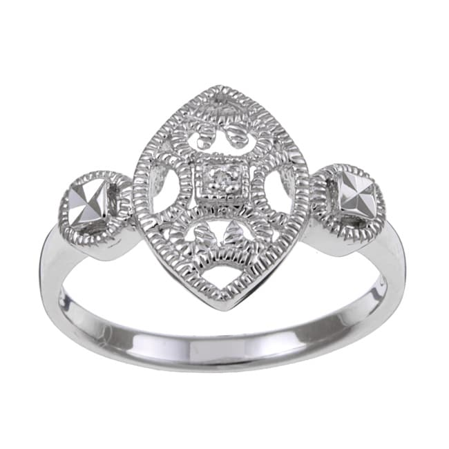 Sterling Silver Diamond Accent Vintage Marquise-shaped Ring