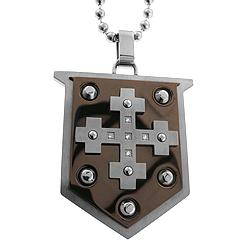 Black and Blue Jewelry Two-tone Steel Diamond Shield Necklace