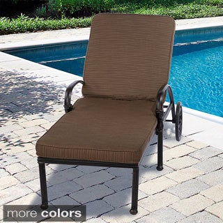Indoor/ Outdoor Textured Neutral 21-inch Wide Chaise Lounge Cushion with Sunbrella Fabric