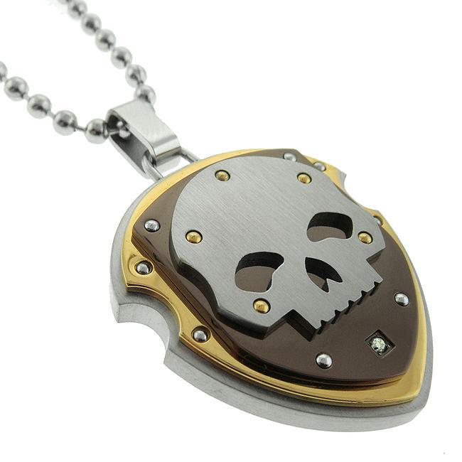 Black and Blue Jewelry Tri-color Steel Diamond Skull Shield Necklace