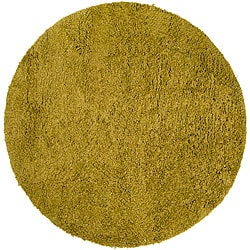 Hand-woven MetropoliGreen New Zealand Wool Rug (8' Round)