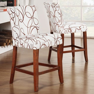 Decor Swirl Print Wood Barstools (Set of 2)
