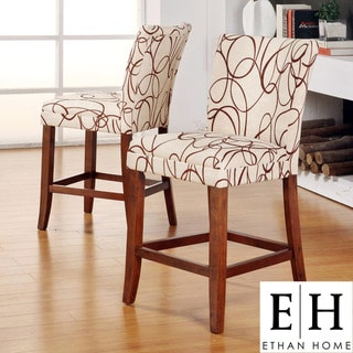 ETHAN HOME Decor Swirl Print Wood Barstools (Set of 2)