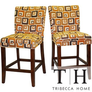 Tribecca Home Decor Orange Cube Print Wood Barstools (Set of 2)