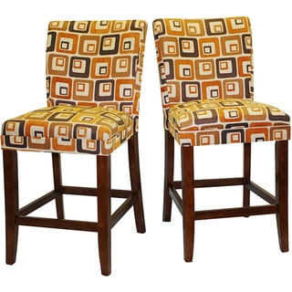 Decor Orange Cube Print Wood Barstools