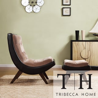 TRIBECCA HOME Albury Two-Tone Lounging Chair with Ottoman
