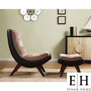 ETHAN HOME Albury Two-Tone Lounging Chair with Ottoman